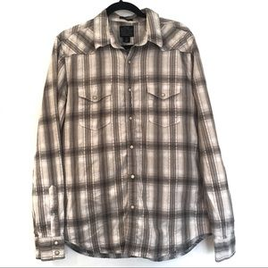 [LUCKYBRAND] Black Label Button Down Plaid Shirt M